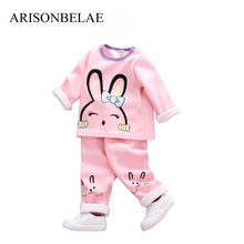 Фотография ARISONBELAE Brand Toddler Kids Warm Tracksuit Cute Rabbit 2pcs Set Underwear Clothing to Baby Cartoon Casual For Girl Clothes