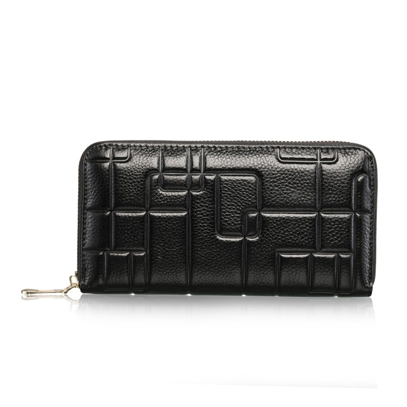 Fashion Genuine Leather Wallet Women Long Purses Clutch Zipper Wallets Women Coin Purse Female Card Holder Bag Carteira Feminina футболка поло из джерси 100% хлопка с контрастным воротником