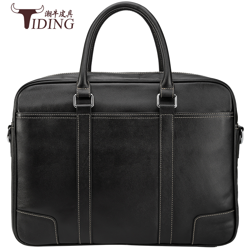 Men's Briefcase Cow Leather Black Travel Business 15