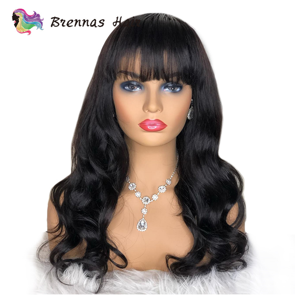 Lace Frontal Wig With Bangs 180% Body Wave Brazilian Lace Front Human Hair Wigs Pre Plucked With Baby Hair Glueless Bleach Knots
