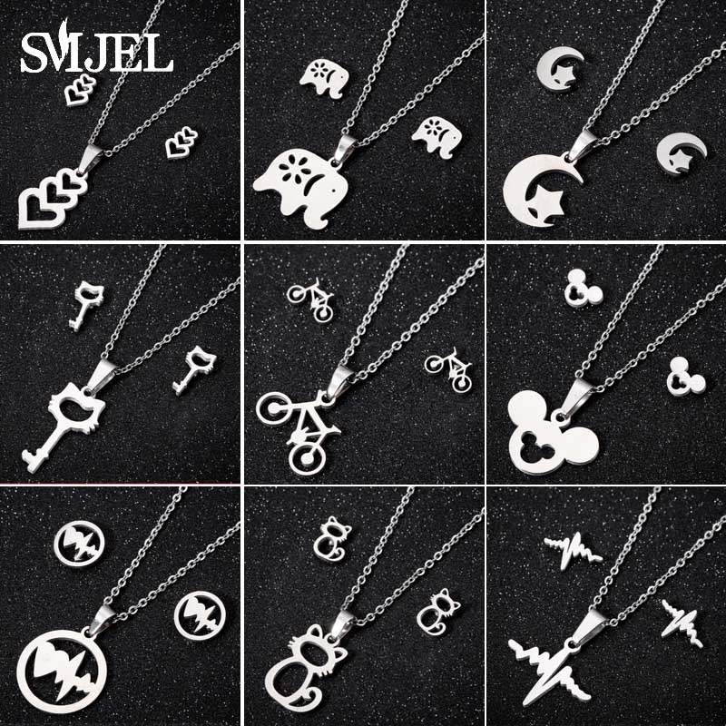 SMJEL Cute Mickey Earrings Kids Animal Gold Color Necklaces Pendants Butterfly Jewelry Set Gifts Bijoux