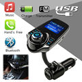 Wireless In-Car Bluetooth Car Kit Universal FM Transmitter Radio Adapter Car Kit With 1.44 Inch Display USB Car Charger Speaker