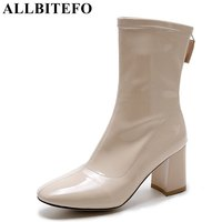 ALLBITEFO Square Toe Patent Leather Thick Heel Women Boots Brand Medium Heel Martin Boots Ankle Boots