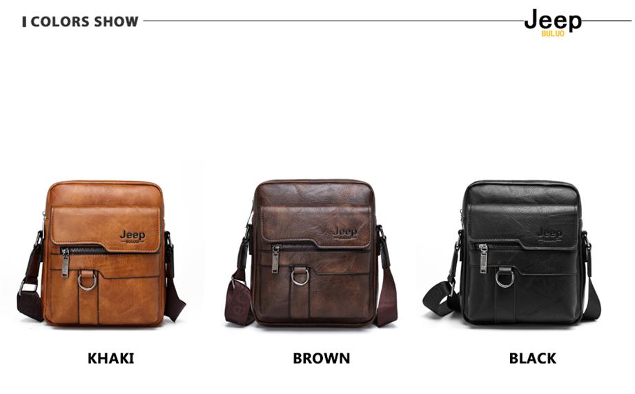 JEEP BULUO Luxury Brand Men Messenger Bags Crossbody Business Casual Handbag Male Spliter Leather Shoulder Bag Large Capacity 14