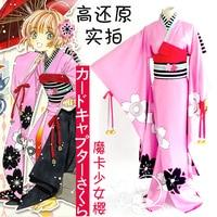 Sıcak Anime CardCaptor SAKURA cosplay Cadılar Bayramı kostüm çünkü KINOMOTO SAKURA Japon tarzı pembe tatlı kimono