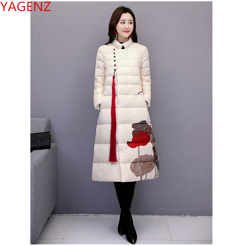 New Women Winter Jacket Retro Warm Printing Long Cotton Clothing Coat High Quality Large Size Suitable For Ladies Jackets 1852