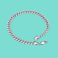 New S925 sterling silver bracelet men's whip design solid silver bracelet good quality real silver chain not fade boyfriend gift