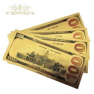 Цветные банкноты в США, 10 шт./лот, 100 банкнот в долларах, 24 к позолоченные фальшивые банкноты в подарок, бесплатная доставка