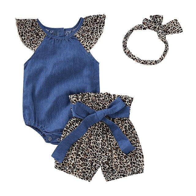 Meninas Do Bebê infantis Leopardo mangas denim Macacão Romper + Short Com Estampa de leopardo + Headbands Roupas Ropa Ninas