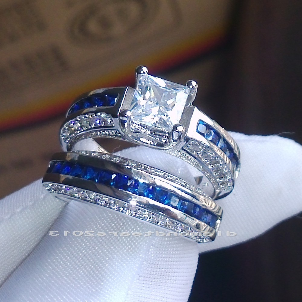 Charming Gallery Of Blue Sapphire Wedding Ring Set