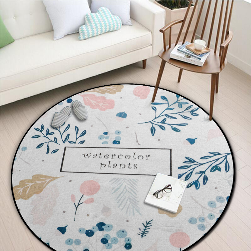 Living Room With Round Rug: Carpet Round Plant Printed Area Rug For Living Room Yoga