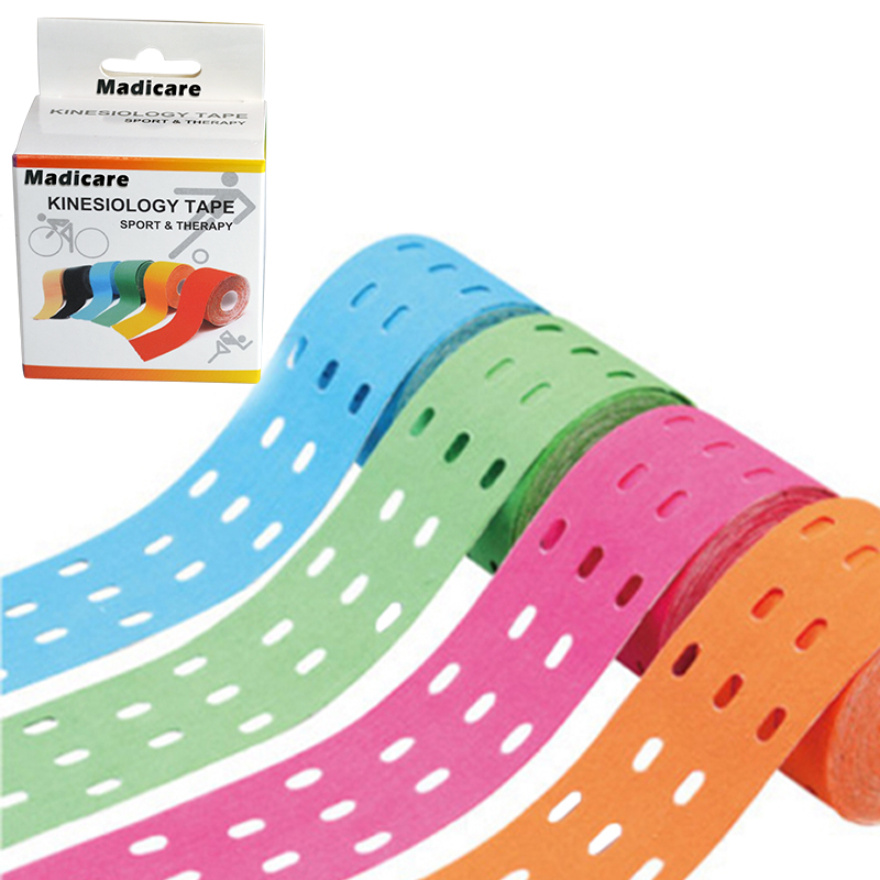 New Hole Kinesiology Tape 5cmx5m Breathable Kinesio Elastic Tapes Support Pain Relief Fishing Bike Athletic Tape kinesiologia