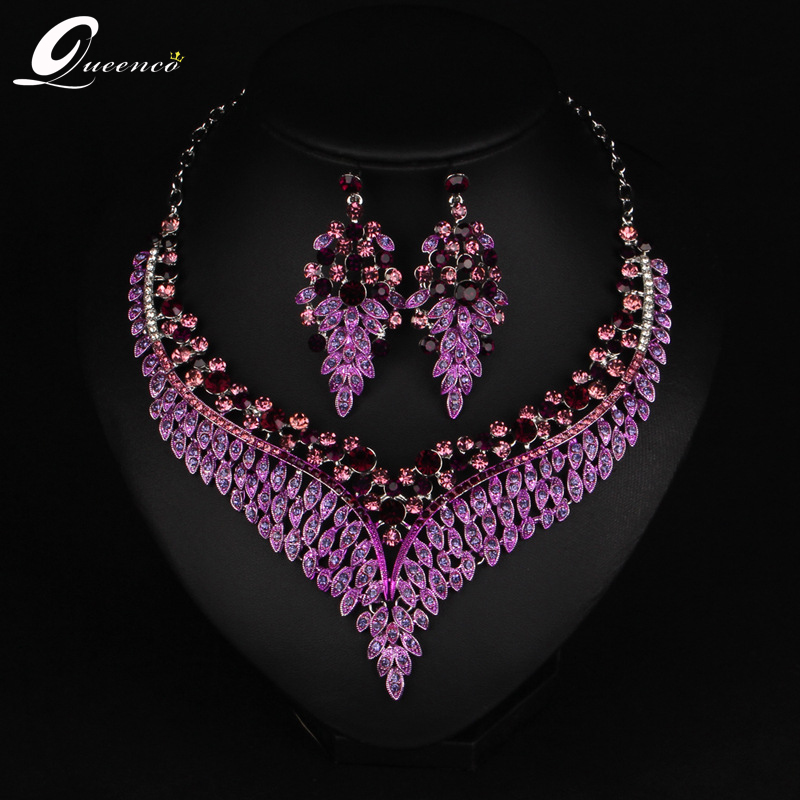 New Purple Bridal Jewelry Sets Austria Crystal Leaf Necklace Earrings Sets for Women Wedding Party African Gold Jewelry SetsNew Purple Bridal Jewelry Sets Austria Crystal Leaf Necklace Earrings Sets for Women Wedding Party African Gold Jewelry Sets