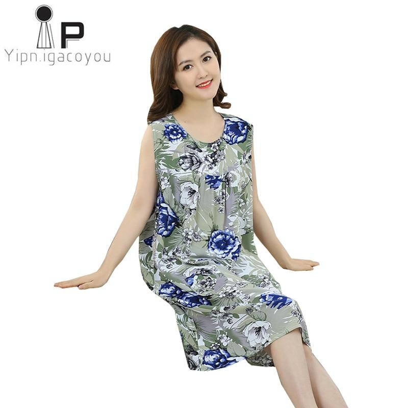 Print Night Dress Women Nightwear Plus Size Women Sleeveless Sleepwear Summer Loose Vintage Nightgowns Female Home Dress Nighty