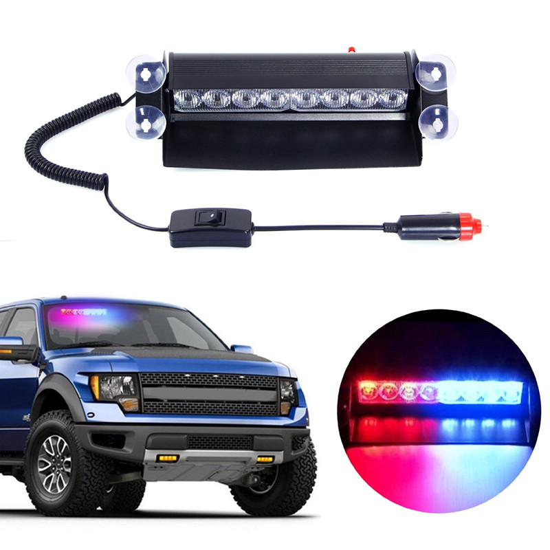 Vehicle Police Strobe Flash Warning EMS Light Flashing Firemen Fog led Emergency lights 8 LED Red Blue Yellow White colcar