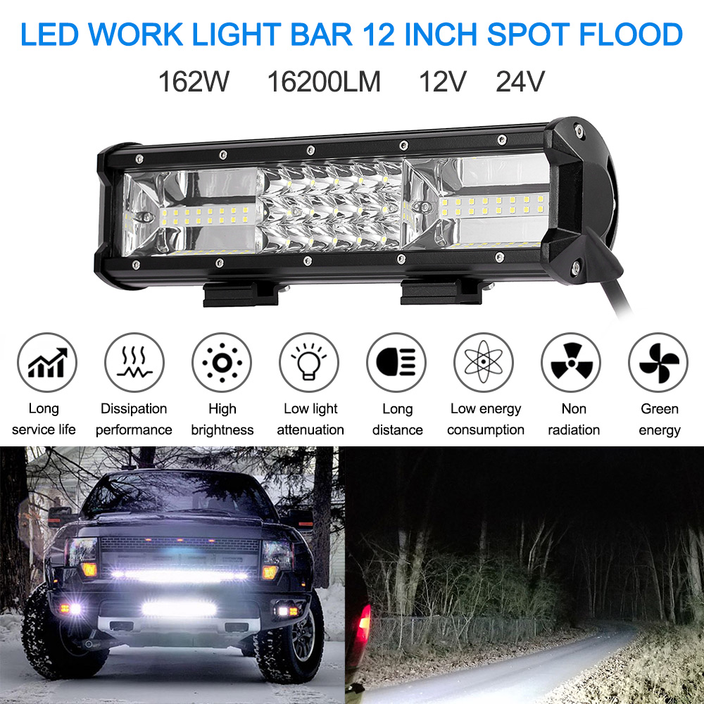 LED WORK Day LIGHT BAR 13 INCH SPOT FLOOD 216W 16200LM CAR SUV MOTORCYCLE 12V 24V TRUCK PICKUP LED DRIVING Light