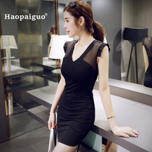 Plus Size Bodycon Mini Dresses Women Summer 2018 V-neck Short Sleeve Hollow Out Office Dress for Women Sexy Sheath Ladies Dress