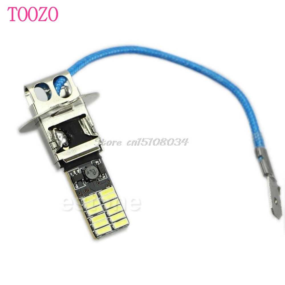 24-SMD-4014 H3 6500K HID Xenon White LED Bulbs for Fog Light or Driving Lamp New #K4U3X#