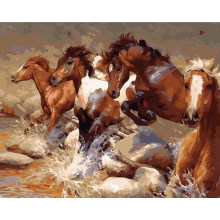 Galloping Horses 2 Hand Made Paint High Quality Canvas Beautiful Painting By Numbers Surprise Gift Great Accomplishment(China)