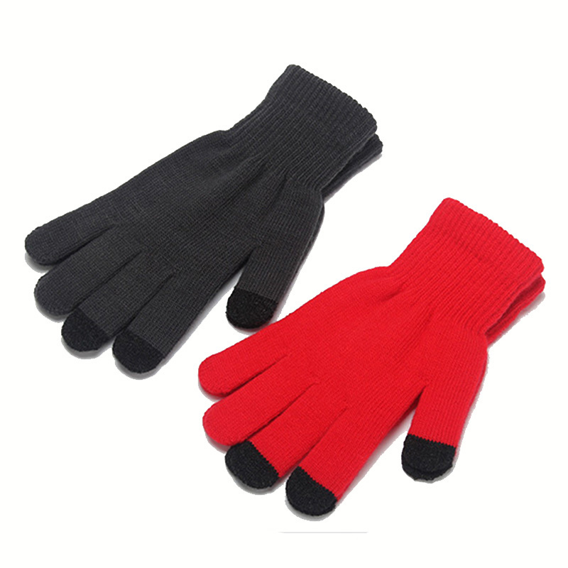 Fashion Female Wool Knitting Touched Screen Gloves Winter Women Warm Full Finger Gloves Stretch Warm Guantes Knit Mitten