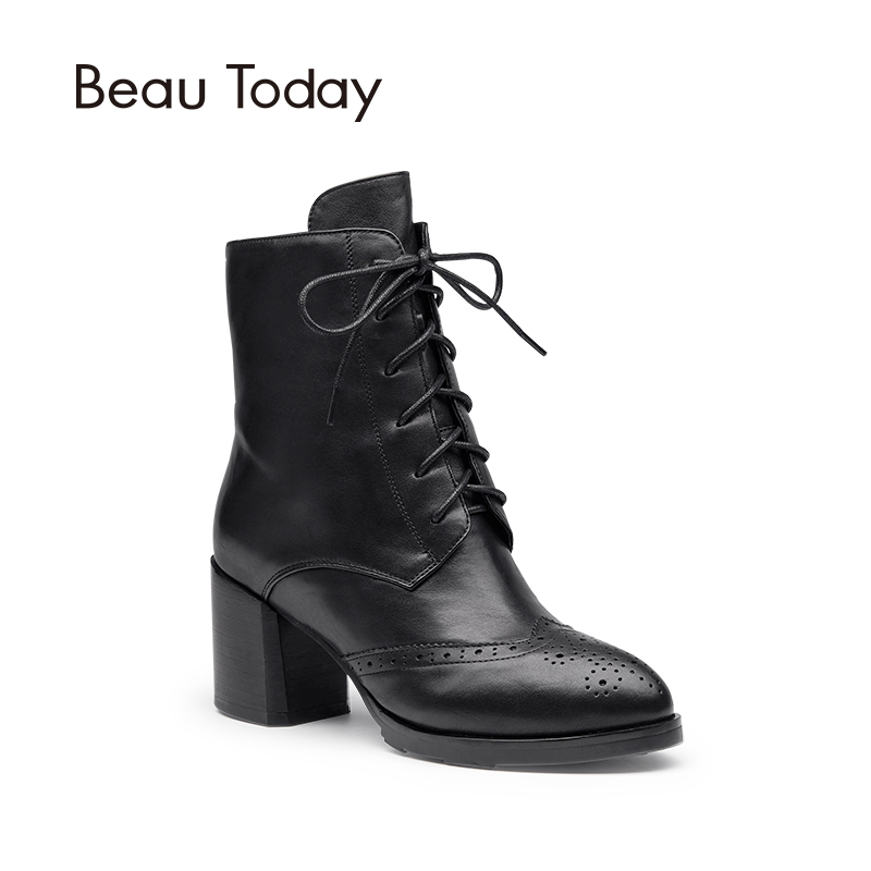 Beau Today Genuine Leather Martin Boots Women Lace-Up Zipper Calf Leather Pointed Toe High Heel Shoes 05204 beango new handmade martin western boots mid calf genuine leather women pointed toe spike heel vintage buckle strap shoes