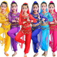 New Children Girls Belly Dance Costumes Sexy Long Sleeves Kids Competition Costume Red Blue Purple Rose