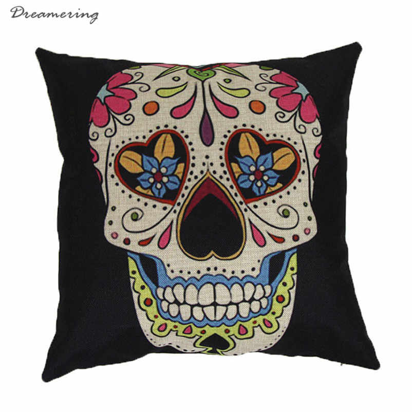 Hot Sale Home Sofa Bed Cars Decoration Vintage Skull Pillowcover Skull Cushion New High Quality Wholesale Free Shipping,Dec 16