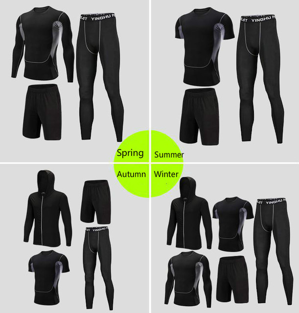 Men's Compression Sportswear Suits Gym Tights Training Clothes Workout Jogging Sports Set Running Tracksuit Quick Dry Plus Size 6