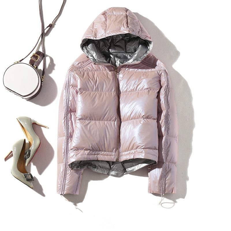 2019 Women Double Sided Silver Golden Duck Down Coat Winter Jacket Women Waterproof Down Parka Hooded Loose Female Coat
