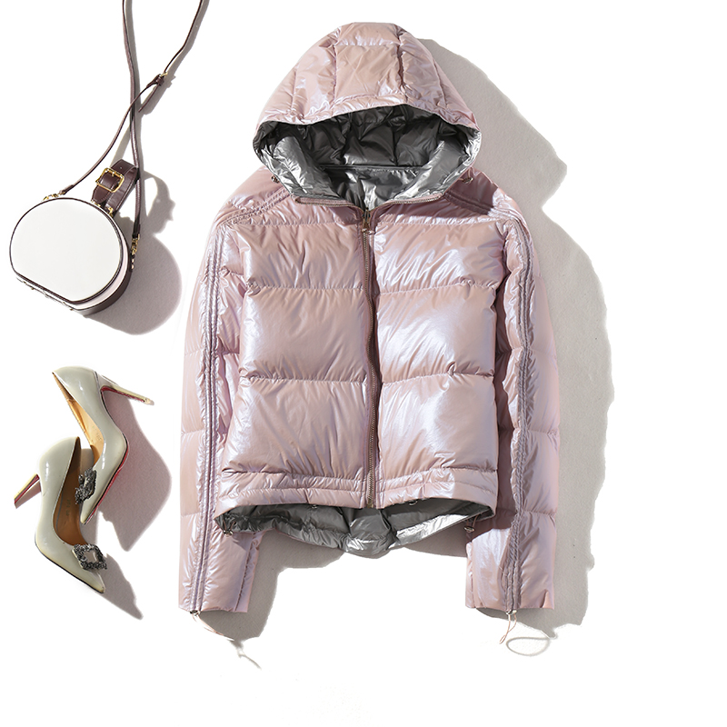 2019 Women Double Sided Silver Golden Duck   Down     Coat   Winter Jacket Women Waterproof   Down   Parka Hooded Loose Female   Coat