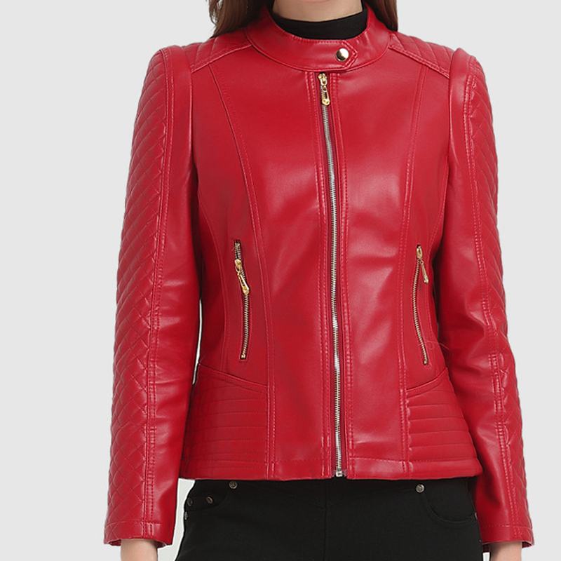 buy real cheaper sale 100% original US $28.8 40% OFF|Black brown red burgundy plus size button O neck zip up  leather look biker jackets for women cool oversize faux leather PU coats-in  ...