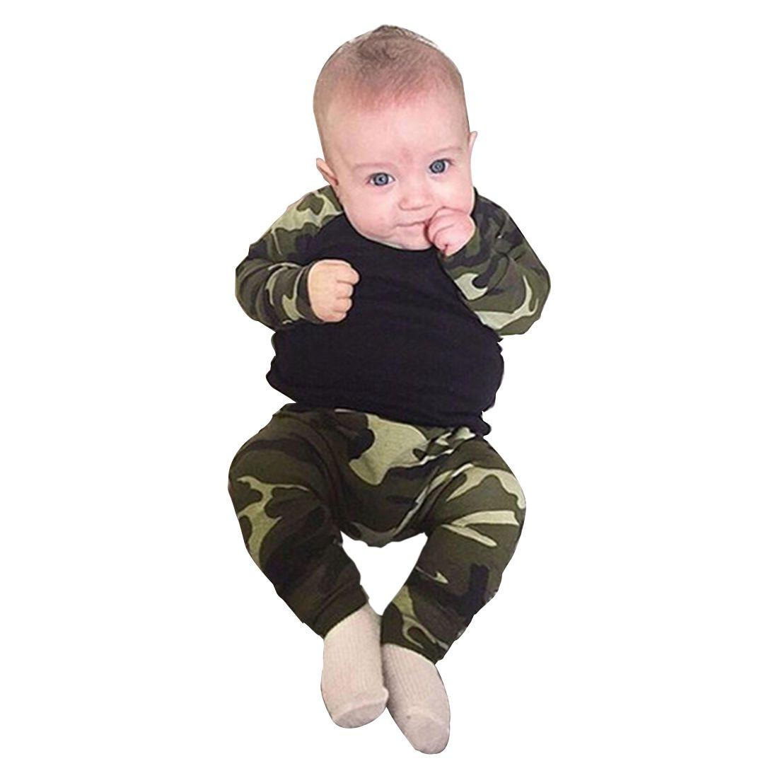 Abwe Best продаж Симпатичные новорожденных для маленьких мальчиков детская футболка Топ + длинные штаны комплект одежды, черный и камуфляж 70 см