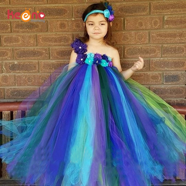 20944afb5dcc Peacock Flower Girls Tutu Dress and Headband Peacock Kids Fairy Dress for  Bridesmaid Birthday Party Wedding Performance TS117