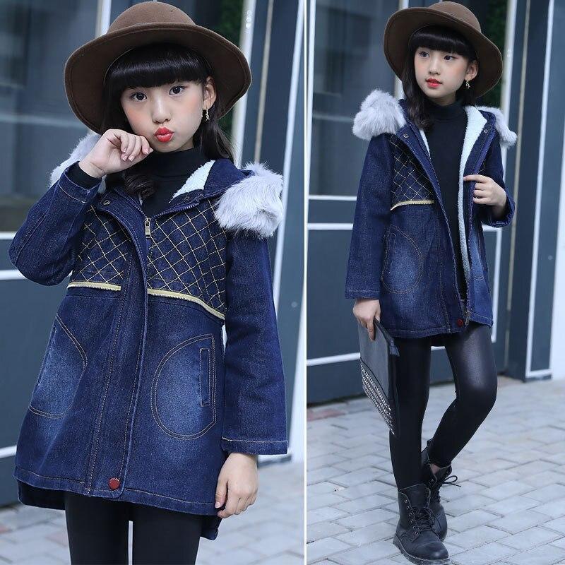 1c97d9020 Fashion Girls Winter Coat Jeans Thicken Outerwear Baby Coats Denim ...
