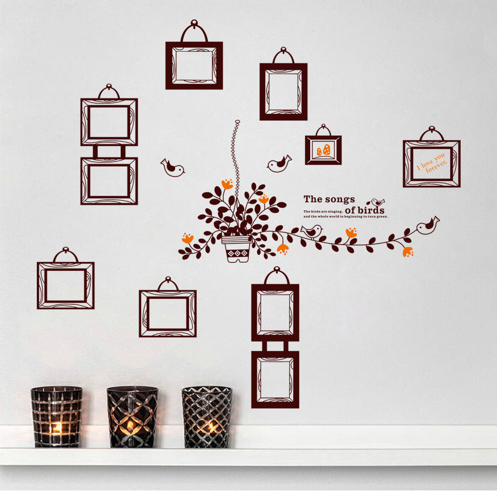 Aliexpress.com : Buy Lovely Bird Frame Photo Wall Stickers PVC Waterproof  Stickers For Kids Room Living Bedroom DIY Home Decor Family Photoes 60*90CM  From ... Part 39