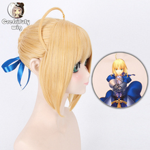 Fate Stay Night Arturia Pendragon Saber Cosplay Wig Blonde Grey Styled Updo Anime Costume Full Wigs For Party 3 Colors
