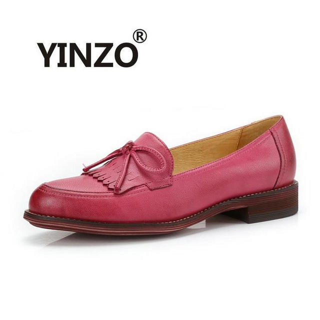 98c9c7105e7a YINZO Brand shoes female Genuine Leather sheepskin flat women s shoes 2018  Spring Autumn tassel Loafers Bullock shoes Moccasins