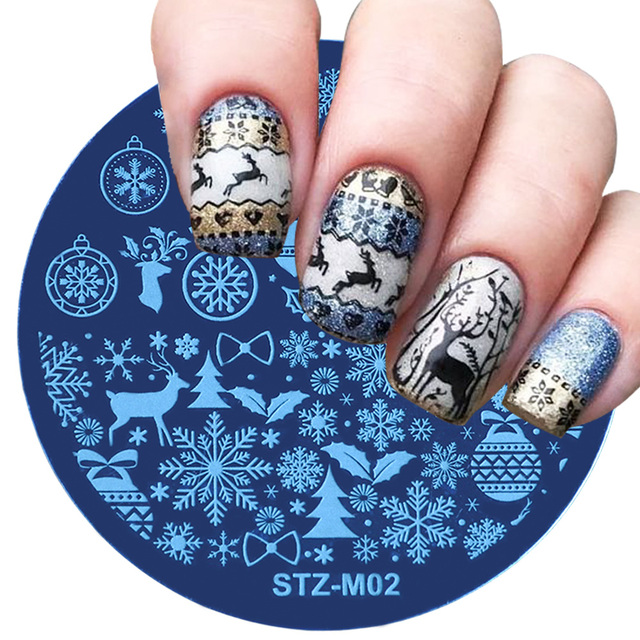 1pcs Christmas Nail Stamping Plates Snowflake Deer Winter Image