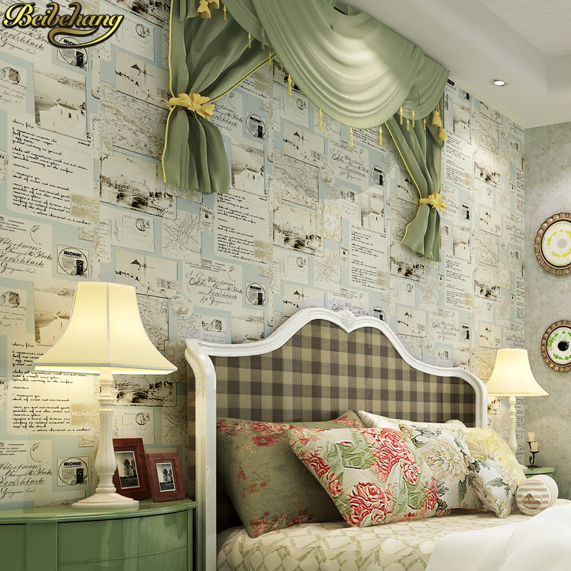 beibehang American country Retro newspaper wallpaper for children's room Wall paper roll Living room papel de parede para quarto beibehang beautiful rose sea living room 3d flooring tiles papel de parede para quarto photo wall mural wallpaper roll walls 3d