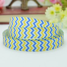 "DUWES 3/8"" 9mm Minions Yellow Blue Chevron Printed grosgrain ribbon hai rbow DIY handmade wholesale OEM 50YD(China)"