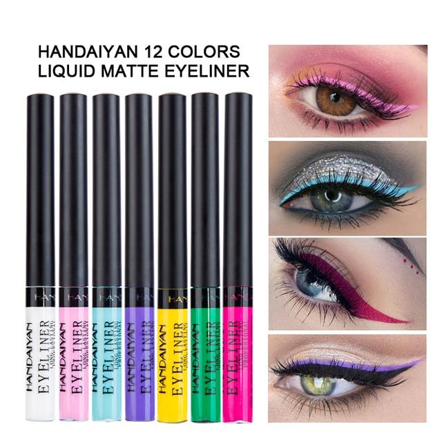 HANDAIYAN 12 Colors Waterproof Liquid Eyeliner Makeup Black White Pink Color Glitter Eye Liner maquiagem China Makeup TSLM2 5