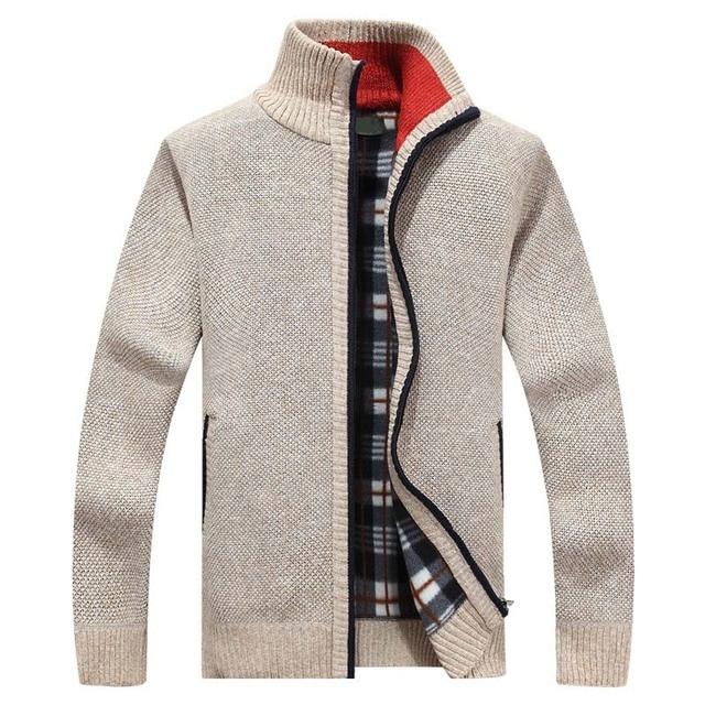 2019 New Men's Sweaters Autumn Winter Warm Cashmere Wool Zipper Cardigan Sweaters Man Casual Knitwear Sweatercoat male clothe