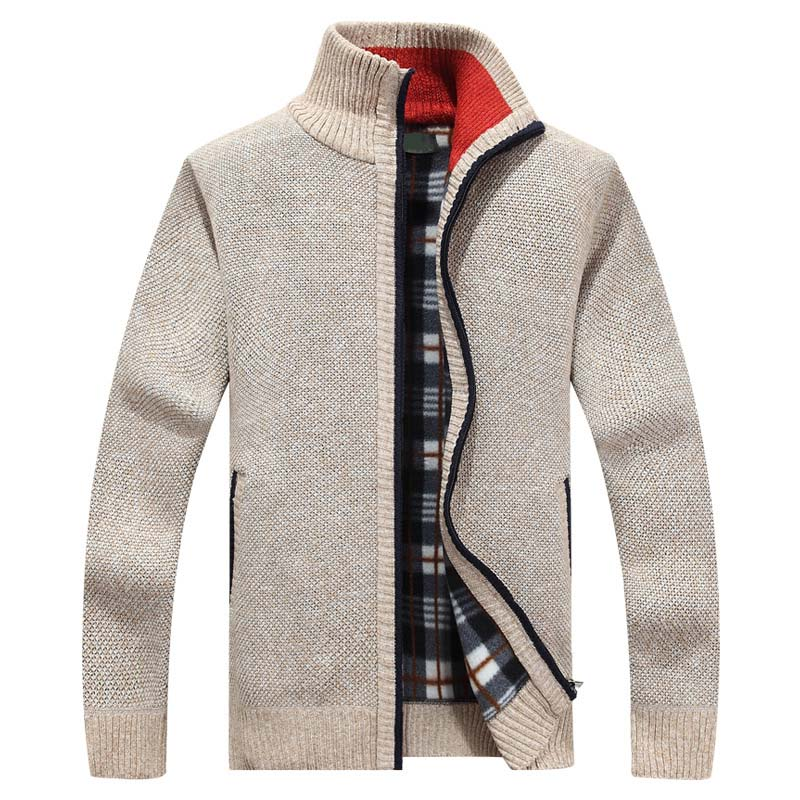 2020 New Men's Sweaters Autumn Winter Warm Cashmere Wool Zipper Cardigan Sweaters Man Casual Knitwear Sweatercoat male clothe(China)