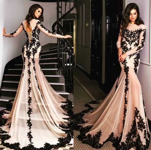 46d0ebffea Black Appliques Sheer Tulle High Neck ombre Mermaid Prom Dress Long Sleeve  Sweep Train Evening Party