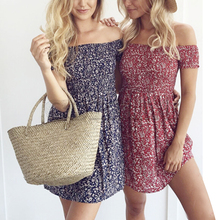 CUERLY 2019 Boho Style Women Summer Dress Off shouCUERLYer floral Print High Waist Dresses Beach Casual Vintage