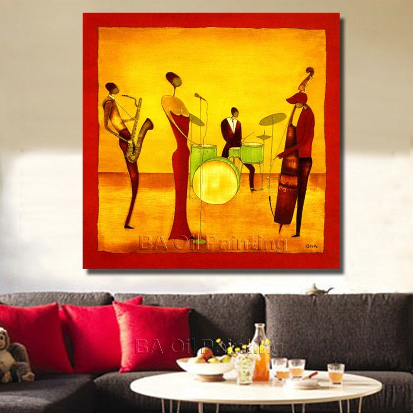 Free Shipping Handpainted Abstract Jazz Band Oil Painting On