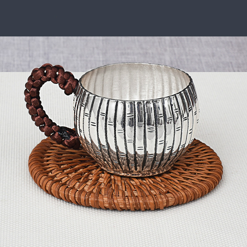 Sterling Silver Welcome Guests  Cup Body Anti-scalding Tea Cup Pure Handmade Silver 999 Family Silver Cup