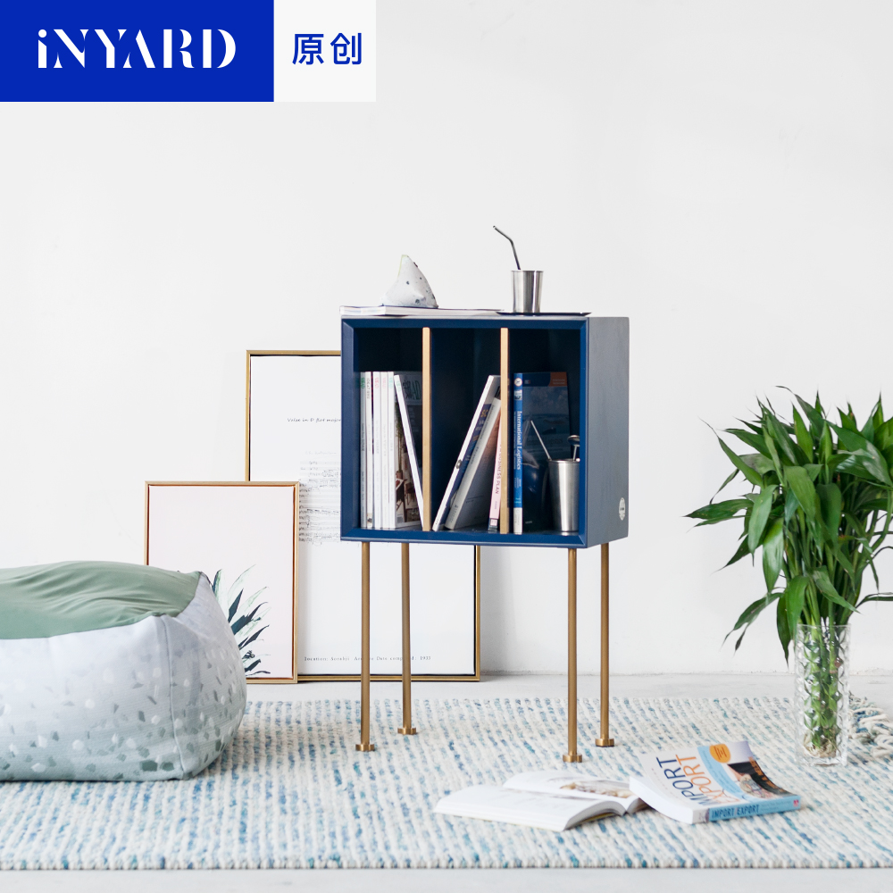 [InYard original]reading side cabinets / gold, natural marble, Nordic design, blue bookcase, sofa