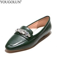 YOUGOLUN Women PU Loafers New Spring Autumn Lady Casual Square Toe Flat Shoes Fashion Woman Green Silver Red Crystal Flats #B215