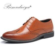 662d1bc2 BIMUDUIYU de lujo de cuero de encaje moderno de vestir de negocios de los  hombres zapatos Oxford fiesta boda traje Formal Calzad.